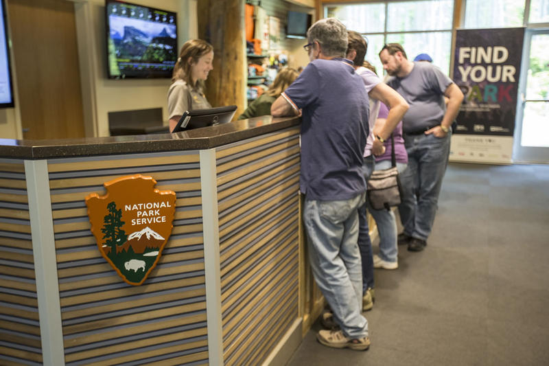 Tourists at the Apgar Visitor Center