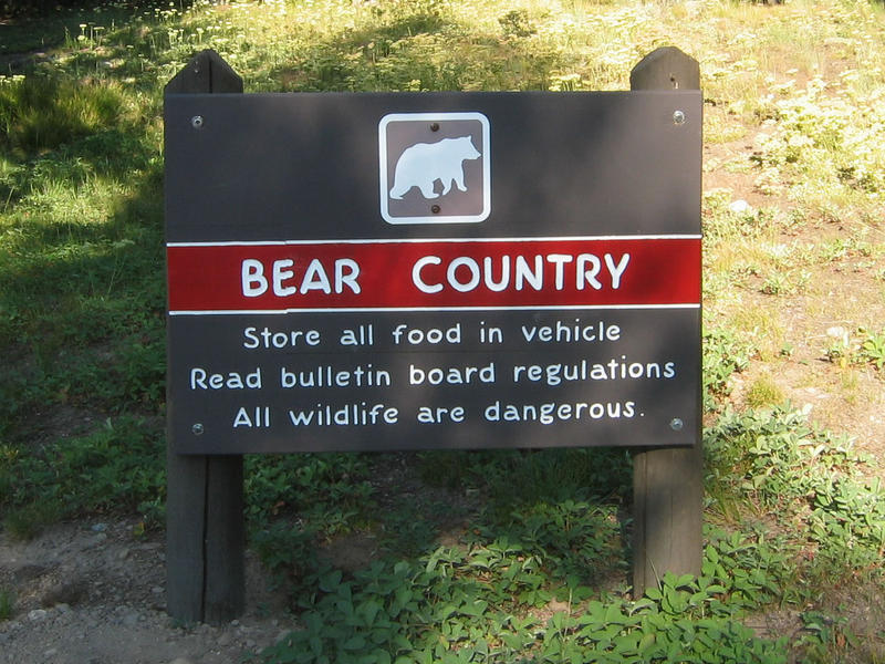 Bear country sign.