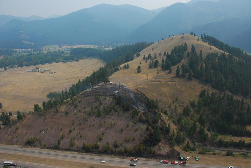 The Beavertail Hill Fire started next to I-90, and burned uphill before being contained.