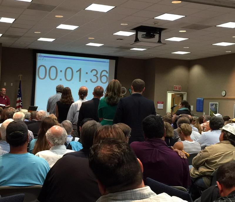 Commenters line up to speak during a Billings meeting on coal royalty reforms, Tuesday, August 11.