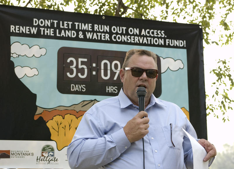 Sen. Tester urged the crowd to advocate for LWCF funding at an August 24 rally in Missoula, MT.