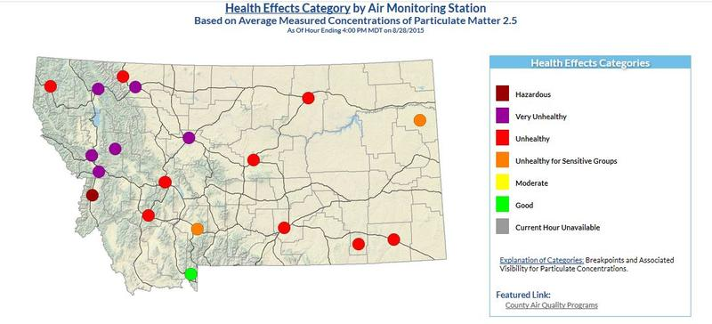 Air quality is poor across Montana due to wildfires burning in the western U.S.