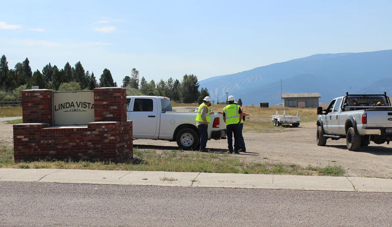Northwestern Energy employees work to restore power to Missoula's Linda Vista neighborhood.