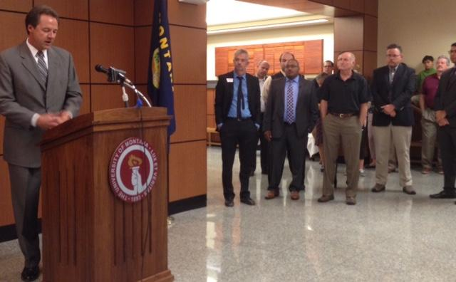 Gov. Steve Bullock speaks about the benefits of the Montana University System Research Initiative, Tuesday, August 18, 2015 on the UM campus.