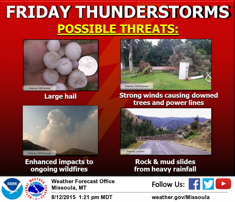 Hail and thunderstorms are possible in western Montana Friday.