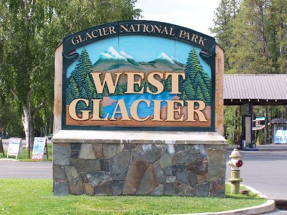 Sign greeting visitors to West Glacier Montana