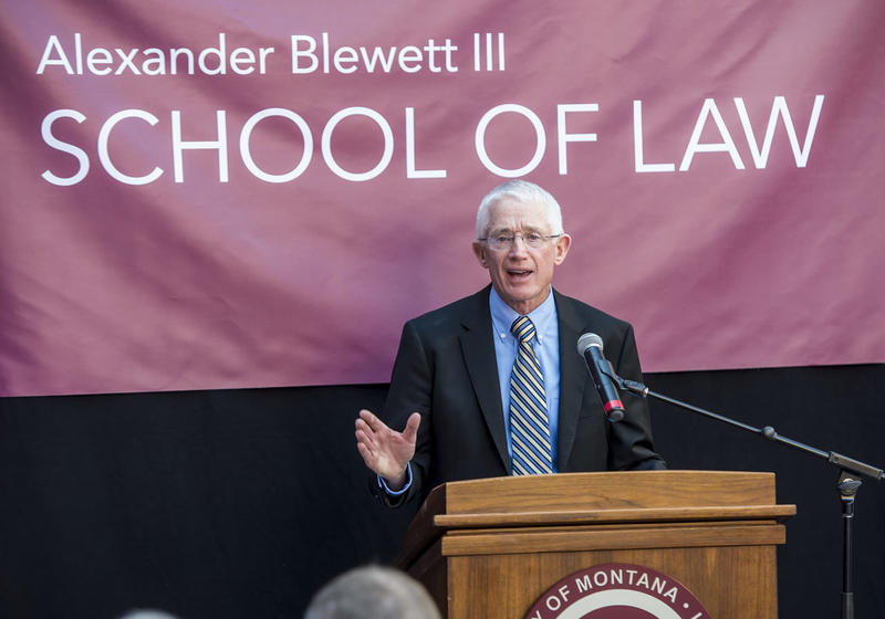 Alexander Blewett III speaks at the UM Law school, now named for him following his $10 million gift to the school.