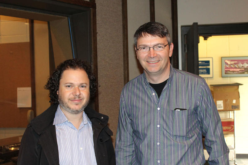 Cellist Matt Haimovitz with MTPR Program Director Michael Marsolek