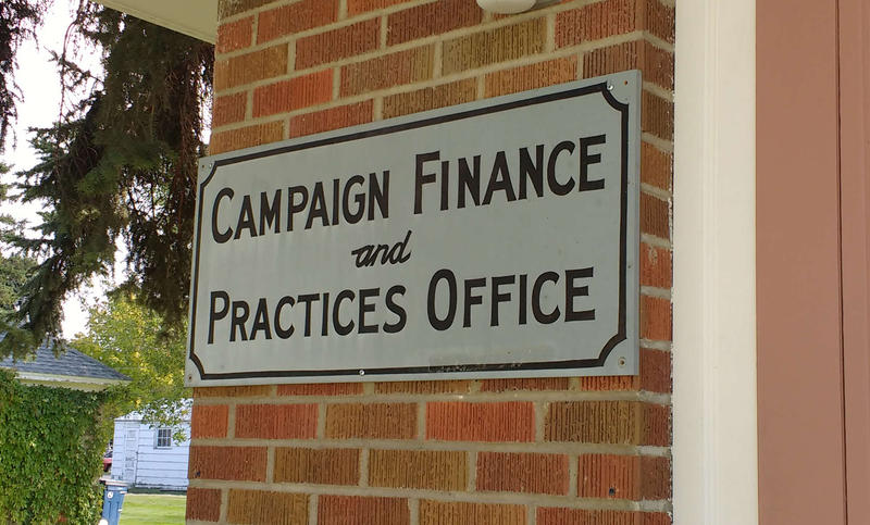 The sign outside the Montana Commissioner of Political Practices Office