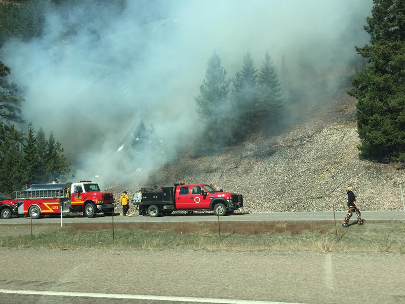 Wildfire burning near I-90 mile marker 120 near Clinton, MT.