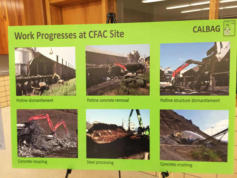 A Calbag Resources sign at an October 2015 meeting shows some of the work in progress at the Columbia Falls Aluminum Company.