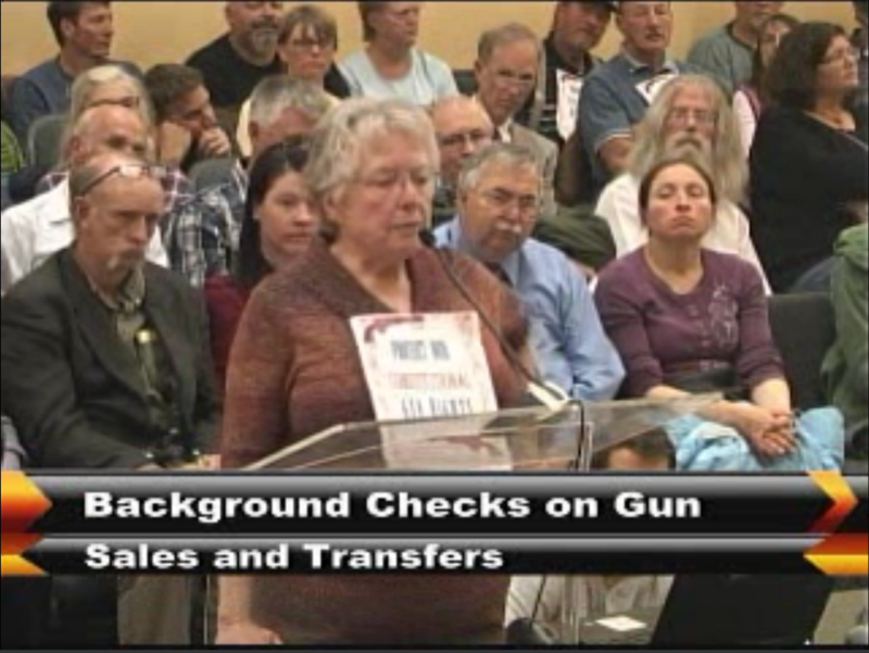 Missoulian June Smith testifies at Missoula City Council hearing on a proposed gun background check ordinance in 2016..