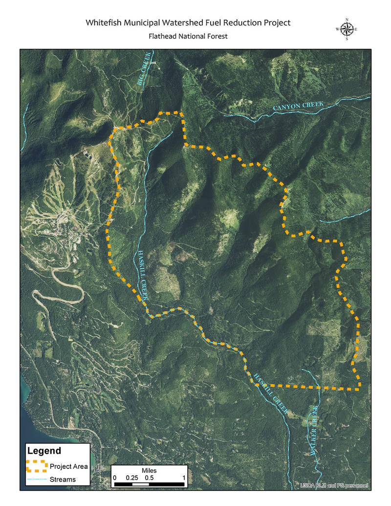 Whitefish Municipal Watershed Fuel Reduction Project map.