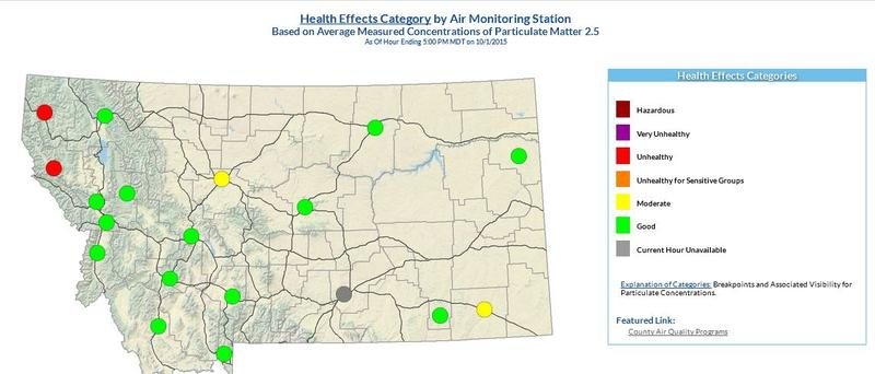 Air quality has been poor in some NW Montana towns today.