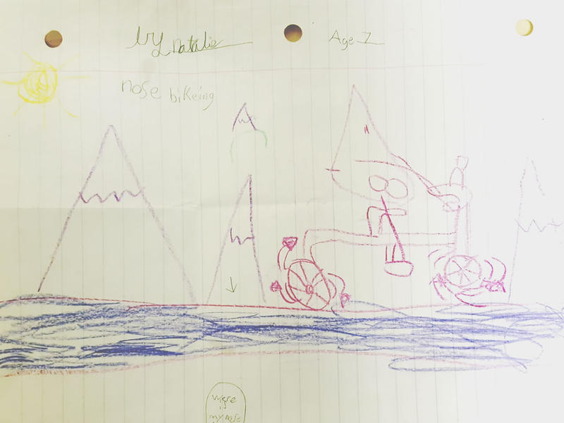"Natalie from Helena sent this picture she drew based on ""The Nose"" radio play she heard on ""Pea Green Boat""."