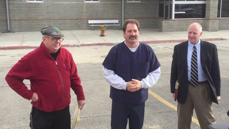 Jim McCloskey of Centurion Ministries, Barry Beach, and attorney Peter Camiel after Beech was freed.