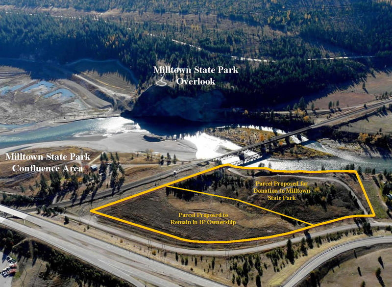 Arial Photograph of Milltown State Park and the parcel proposed for donation.