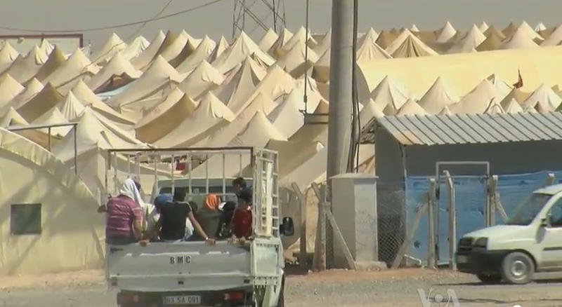 Syrian refugee center on the Turkish border 50 miles from Aleppo, Syria (3 August 2012).