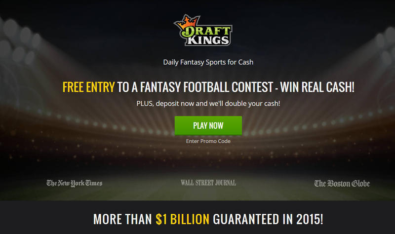 The Draft Kings home page.