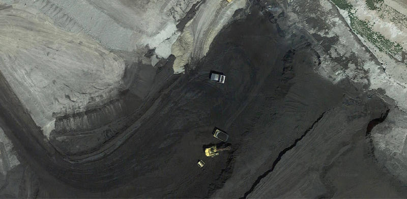 An aerial view of Eagle Butte Mine, owned by bankrupt Alpha Natural Resources.