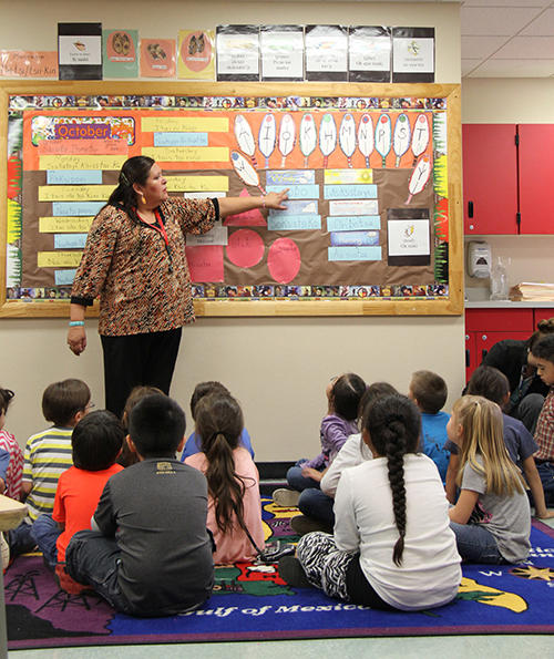 These Browning kindergartners spend part of their day learning in English, and part of it learning in Blackfeet. The school's aim is to have a class of fluent Blackfeet speakers by the time the students graduate from high school.