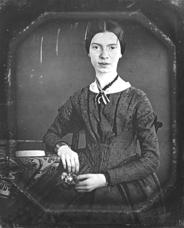 Daguerreotype of the poet Emily Dickinson, taken circa 1848.