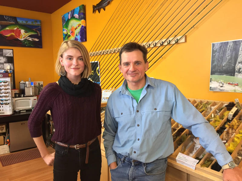 MontPIRG Intern Sophie Moon, and owner of Blackfoot River Outfitters John Herzer at a MontPIRG press conference.