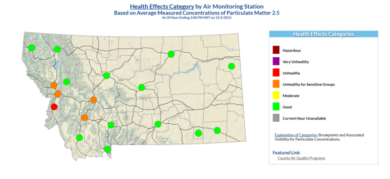Health Effects Category by Air Monitoring Station Based on Average Measured Concentrations of Particulate Matter 2.5 As Of Hour Ending 3:00 PM MST on 12/1/2015