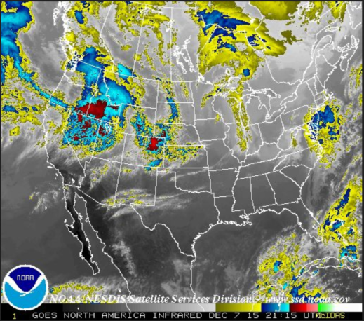 Infrared satellite view of the U.S.