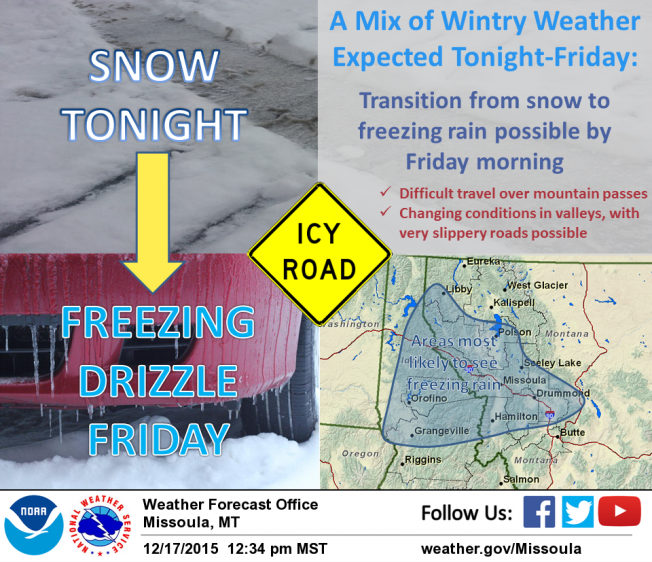 Freezing rain could create dangerous driving conditions Friday morning in parts of western Montana.