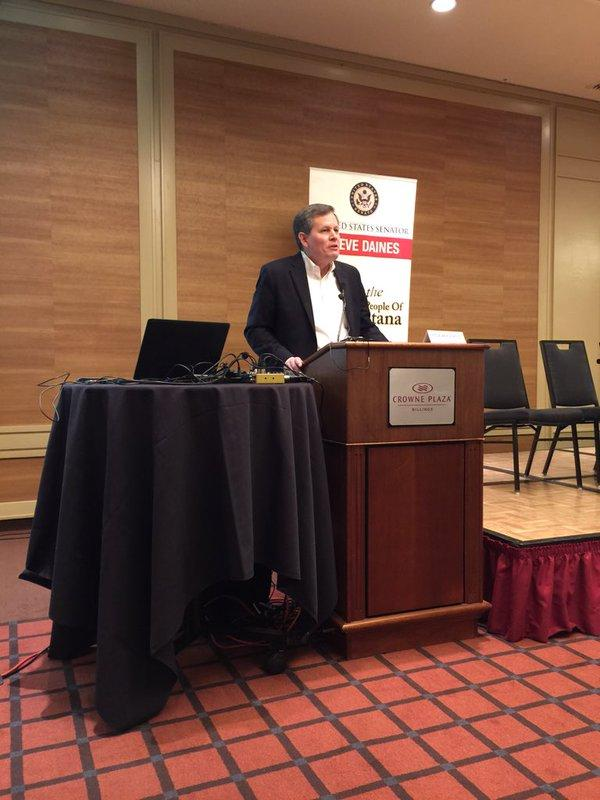 Senator Steve Daines addressed a briefing on the federal Clean Power Plan in Billings Monday.