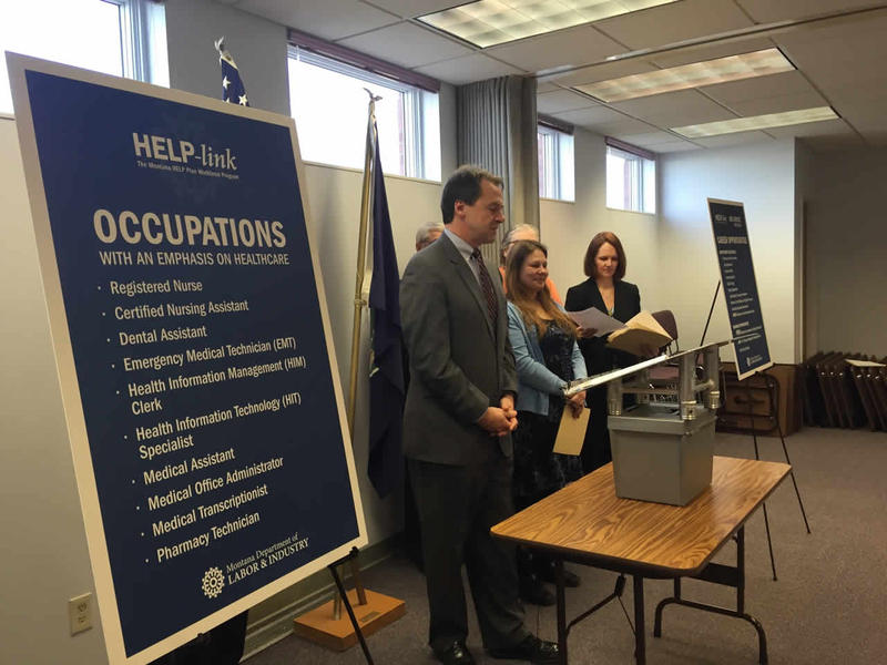 Governor Bullock & Pam Bucy launching the HELP-Link program Feb. 08, 2015 in Great Falls.