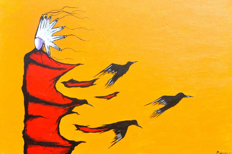 "A painting by Lauren Monroe, Jr., the artist featured in the film ""Blackfeet Art of the Northern Plains"""