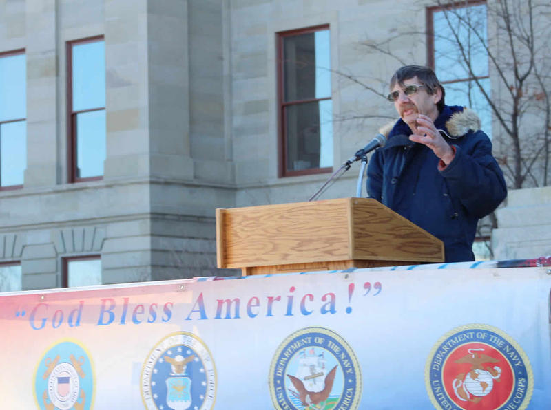 "Jim Buterbaugh created the group that rallied under the banner of ""American Security Rally of Montana"" today on the Capitol steps."