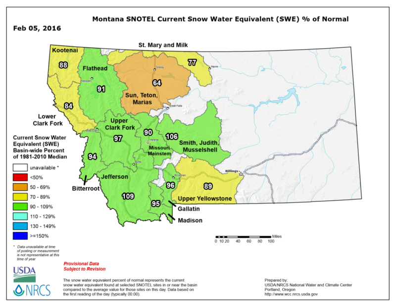 Montana Snowtel Current Snow Water Equivalent % of Normal