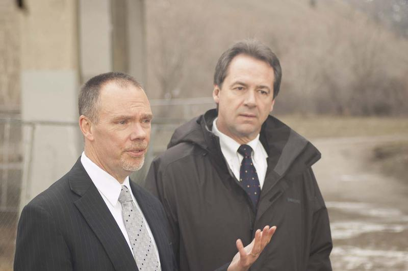 State Department of Transportation Director Mike Tooley and Governor Steve Bullock announce the expedited construction schedule for the Madison Street bridge in Missoula.