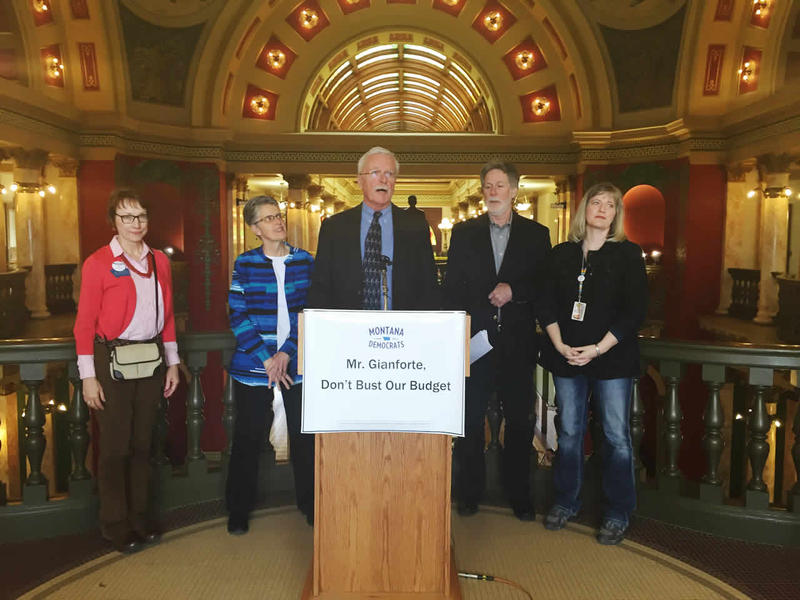 Sen. Dick Barrett speaking at today's Democratic rally at the Capitol. From left to right: Rep Mary Ann Dunwell, Sen. Christine Kaufmann, Sen Dick Barrett, Sen John Sesso, Sen. Jill Cohenour.