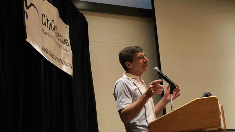 Jim Buterbaugh speaks at a Missoula public discussion