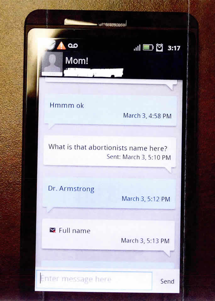 These photos of a series of text messages were part of the criminal case against Zarchary Klundt. They were provided by the attorney representing Susan Cahill in her civil lawsuit against Klundt, his parents and Hope Pregnancy Ministries.