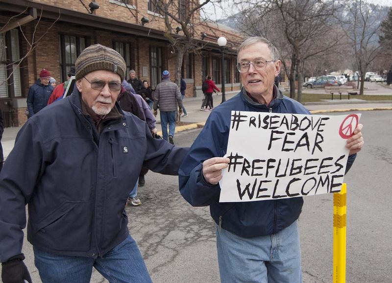 Two of the estimated 800-plus who turned out for a March 1, 2016 rally in Missoula in support of refugee resettlement.