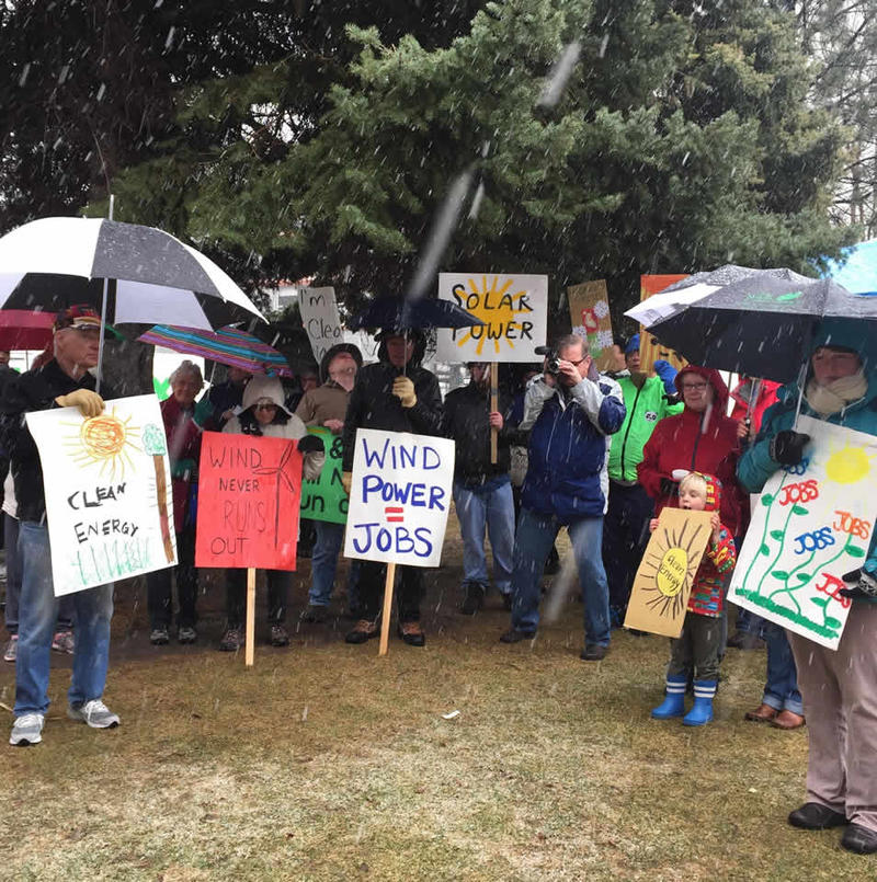 About 60 people gathered on the Yellowstone County Courthouse lawn to promote renewable energy. The March 29, 2016 rally was sponsored by the Northern Plains Resource Council.