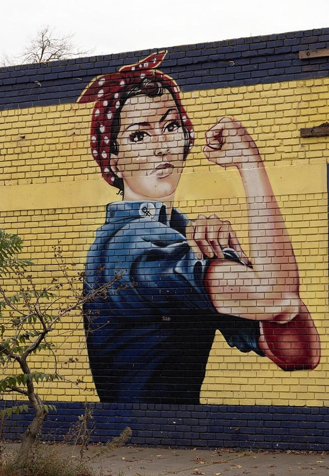 Rosie the Riveter mural on an abandoned building in Sacramento, Calif.