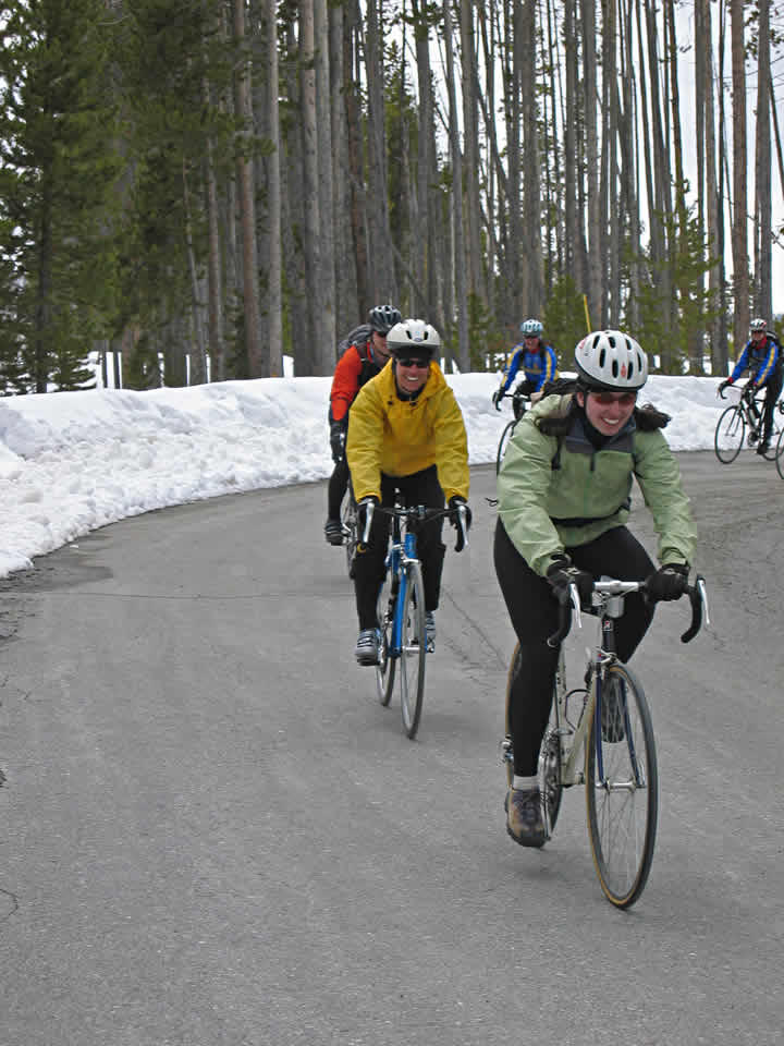 Spring bicycling in Yellowstone