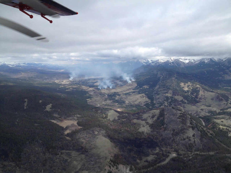 Arial view of the Elk Creek Fire in the Bob Marshall Wilderness, April 11, 2016.