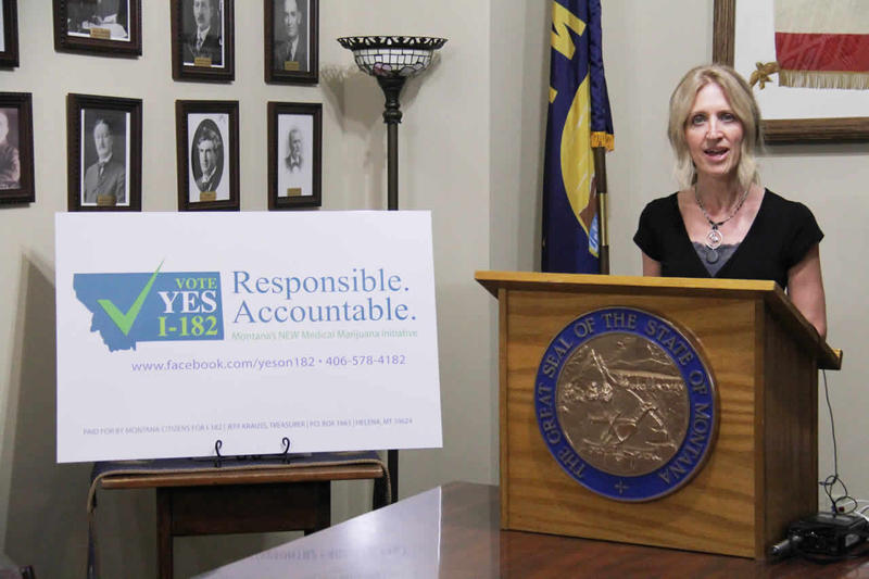 Montana Cannabis Industry Association's Kate Cholewa announces the medical marijuana ballot initiative campaign at the state capitol, April 19, 2016.