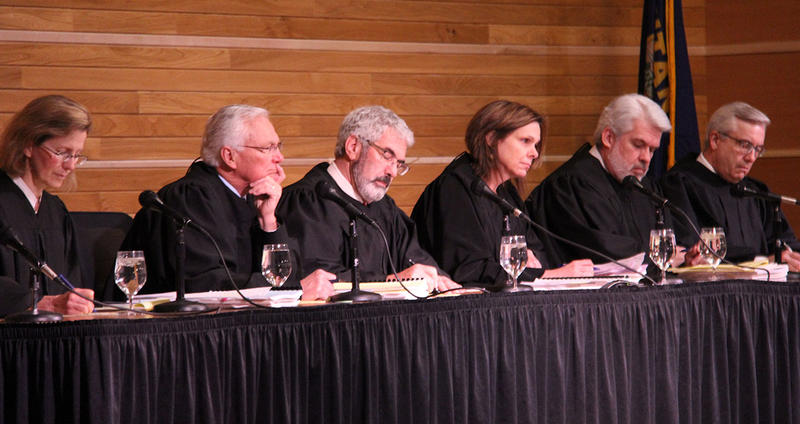 The Montana Supreme Court hears arguments in the Krakauer case in Bozeman, April 27, 2016.