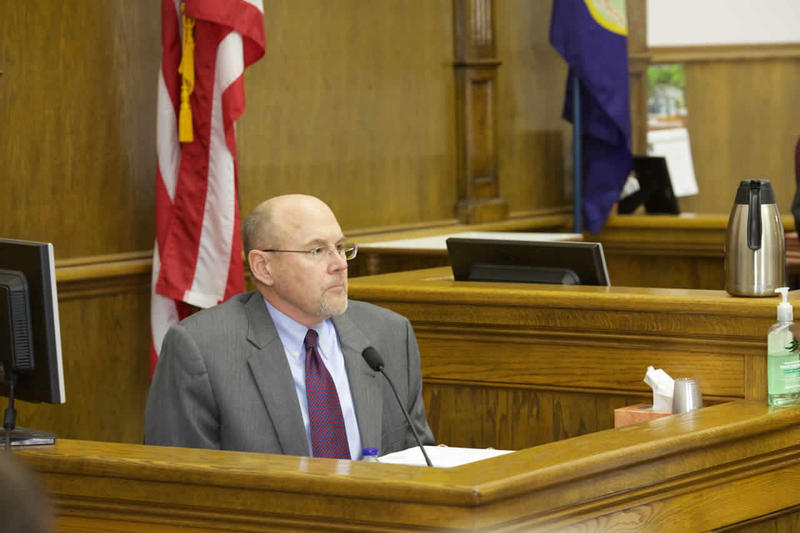 Rep. Art Wittich, R-Bozeman, testifies on the forth day of his corruption trial in Helena.