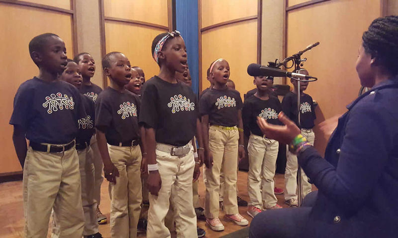 The African Children's Choir at MTPR studios.