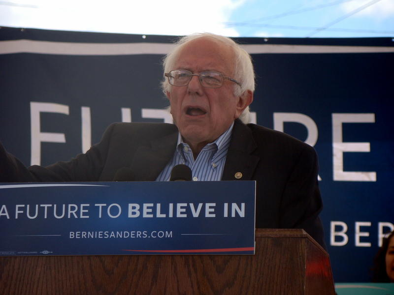Democratic presidential candidate Bernie Sanders speaks during a campaign stop in Missoula, MT on May 11, 2016.