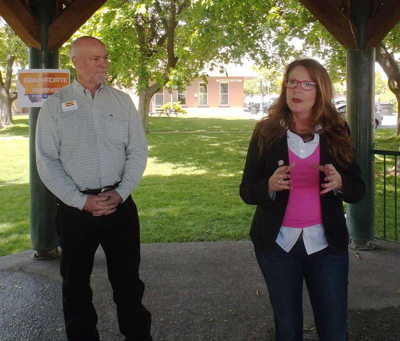 Greg Gianforte and Elsie Arntzen proposed policy changes in Kalispell to grow computer science education in the state, May 17, 2016.
